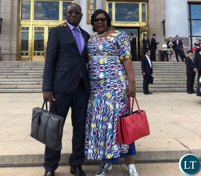 Hon Dora Siliya and Special Assistant to the President Amos Chanda outside the Chinese Great Hall government complex where they met top ranking Chinese Party and government officials