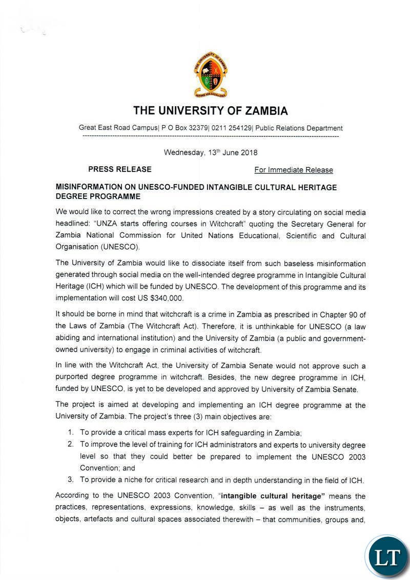 Zambia : Claim about Witchcraft courses at UNZA is