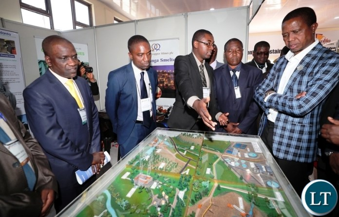 President Edgar Lungu tours KCM Stand at the ongoing CAMNEX Expo in Kitwe on Thursday