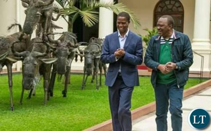 President Lungu with his Kenyan counterpart Uhuru Kenyatta