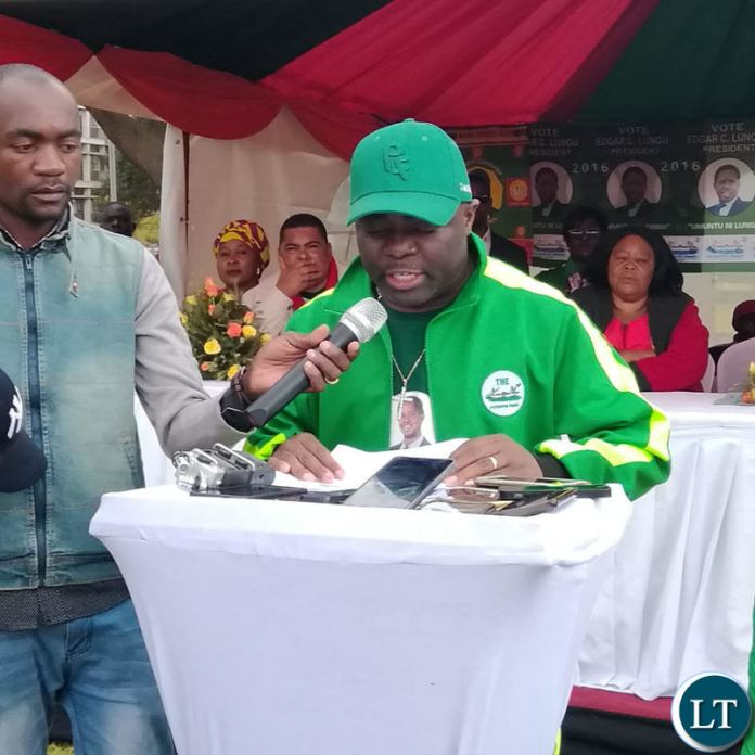 PF National Youth Chairman Stephen Kampyongo delivering his remarks at a joint UPND-PF press briefing.