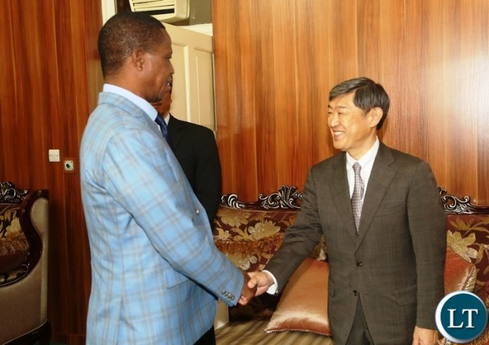 President Edgar Lungu welcomes Japan International Cooperation Agency (JICA) President Dr. Shinichi Kitaoka during the courtesy call at State House