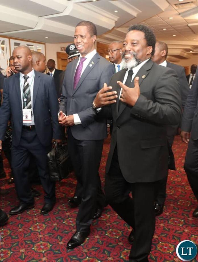 President Lungu with Democratic Republic of Congo(DCR) Joseph Kabila at the SADC Summit