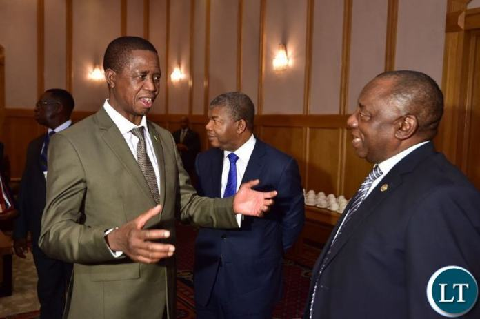 President Lungu with Cyril Ramaphosa of South Africa