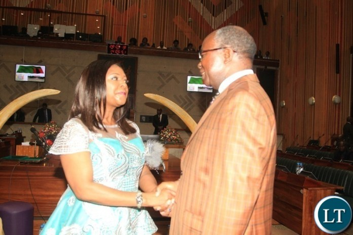 Minister of Finance ,Margaret Mwanakatwe confers wioth Former Minister of Finance Situmbeko Musokwatwane before 2019 National budget presentation in Lusaka.