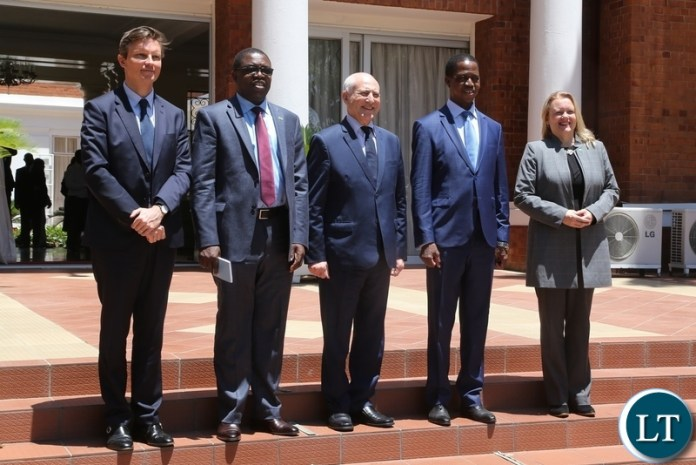 President Edgar Lungu (2nr) Special Envoy for the Great Lakes Region Said Djinnit (Third from right) UN Resident Coordinator to Zambia Janet Rogan (r) Minister of Foreign Affairs Joseph Malanji (2nl) and Political Affairs Officer Benoit Pylyser taking the official photo shortly after the courtesy call at State House