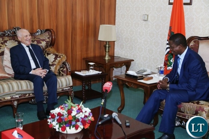 President Edgar Lungu speaking with Special Envoy for the Great Lakes Region Said Djinnit during the courtesy call at State House