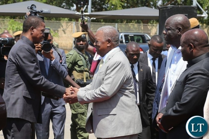 President Edgar Lungu being welcomed 4th Republican President Rupiah Banda before official handover during the handover ceremony at Bonaventure