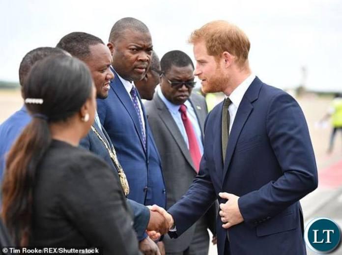 Prince Harry being Welcomed by Lusaka Mayor Miles Sampa
