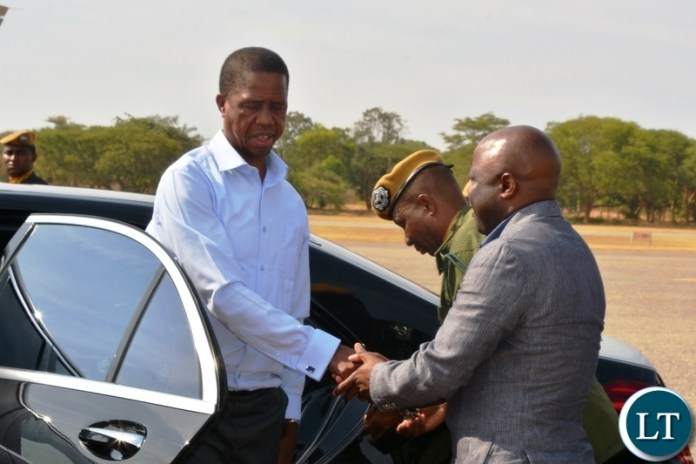 President Edgar Lungu is welcomed by Minister of Home Affairs,Stephen Kapyongo before departure for western Province for a day working visit at City Airport.