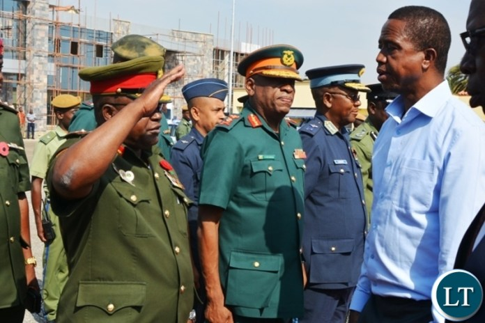 President Edgar Lungu is welcomed by service chiefs before leaving for western Province for a day working visit at City Airport.