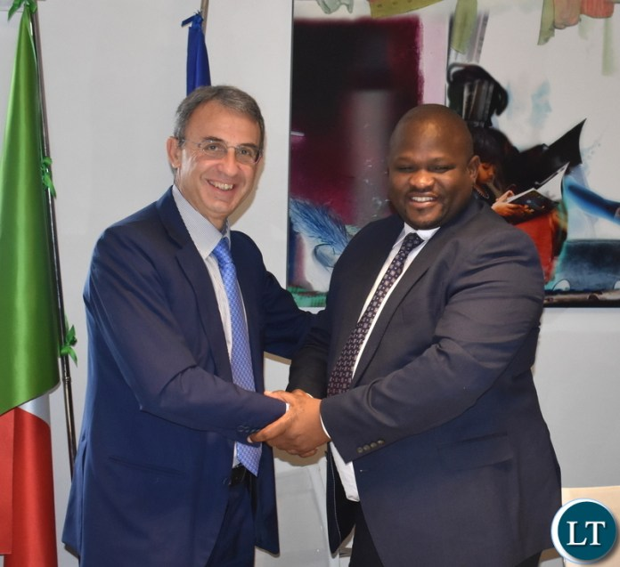 Zambia and Italy delegation during the signing of a bilateral Memorandum of Understanding on combating Climate Change om 30 November 2018 in Rome Italy. Photo | Chibaula D. Silwamba | MNDP