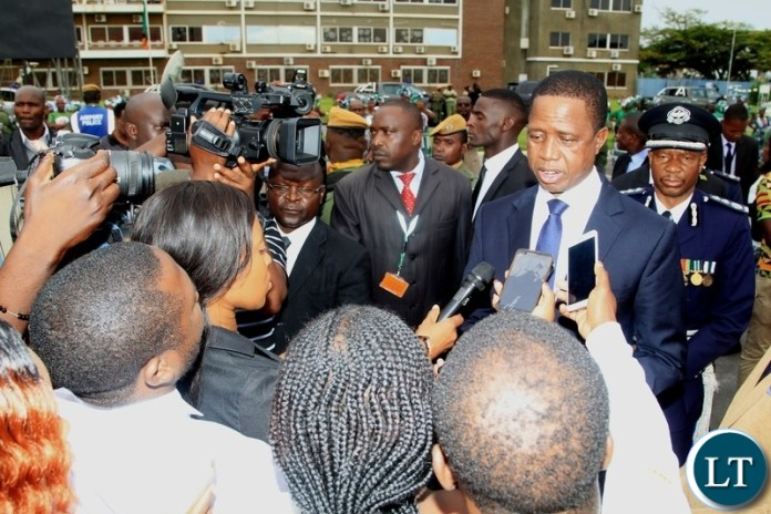 President Edgar Lungu in an interview with Journalists   before departure for Japan at Kenneth Kaunda International Airport