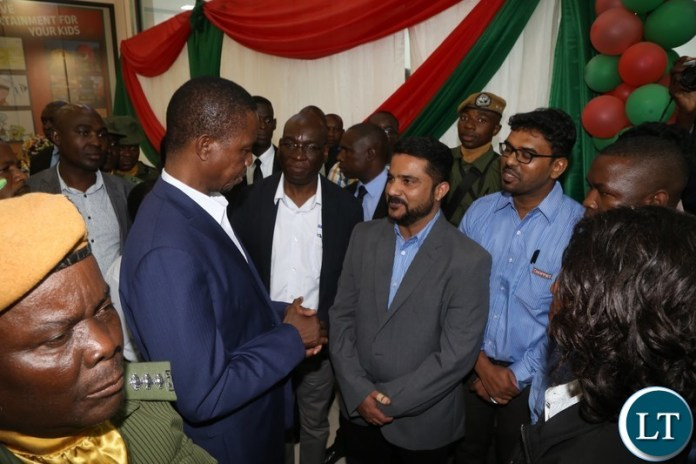 President Edgar Lungu tours the building before he officially opened the Edgar Chagwa Mall in Kitwe