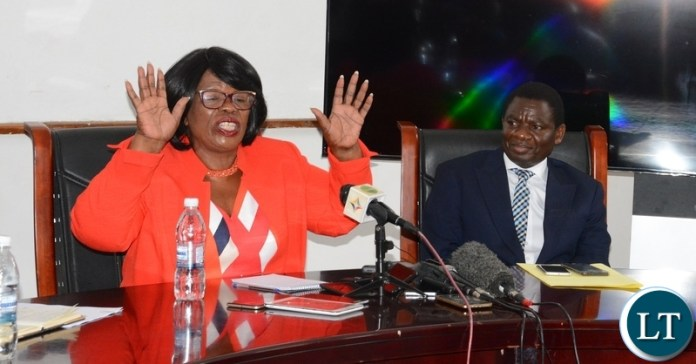 Minister of High Education Nkandu Luo speaking to Journalists whilst Minister of General Education David Mabumba listens during the Joint Media Briefing at Ministry of High Education yesterday 14-01-2019. Picture by ROYD SIBAJENE/ZANIS