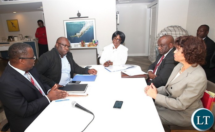 First Lady Esther Lungu during a meeting with Zambia's deputy Ambassador to Washington DC James Chisenga, Local government Permanent Secretary Amos Malupenga, Los Angelese -Lusaka Sister City Committe Chairman Dr Ernestine Robertson (R) and Dr Mwelwa Mulenga (L) in California where she is expected to receive Fire trucks donated to the Esther Lungu Foundation Trust by the Los Angeles-Lusaka Sister City Committee and the Mayor of Los Angelese in the United States of America on Saturday, January 19,2019-Pictures by THOMAS NSAMA
