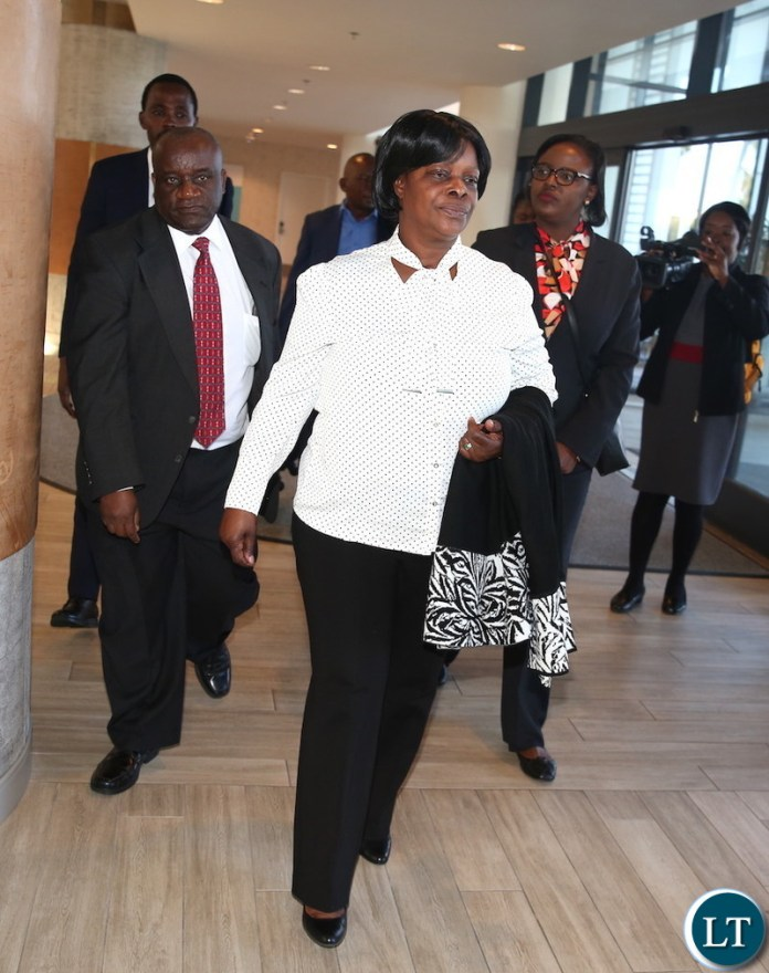 First Lady Esther Lungu arrives in Los Angeles, California where she is expected to receive Fire trucks donated to the Esther Lungu Foundation Trust by the Los Angeles-Lusaka Sister City Committee and the Mayor of Los Angelese in the United States of America on Saturday, January 19,2019-Pictures by THOMAS NSAMA