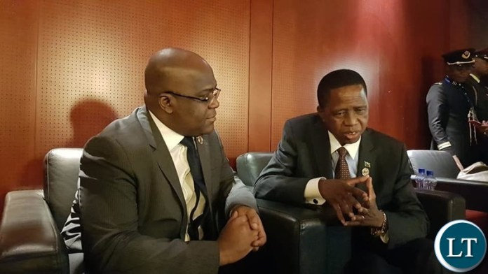 President Edgar Lungu with President of the Democratic Republic of Congo(DRC) Felix Thsiskedi
