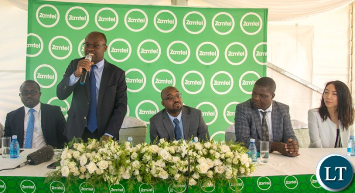 Zamtel Chief Executive Officer Sydney speaking during the launch of the Zamtel 4G on mobile in Lusaka