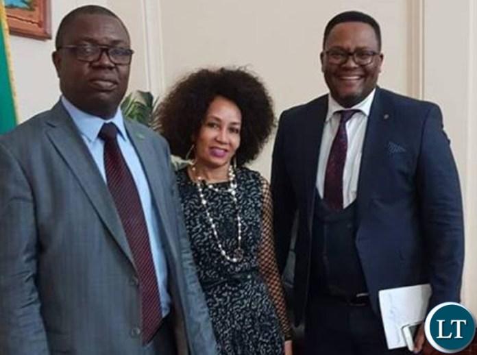South Africa's Minister of International Relations and Cooperation Hon. Lindiwe Sisulu  with Zambia's Foreign Minister Joseph Malanji with Ambassador Emmanuel Mwamba