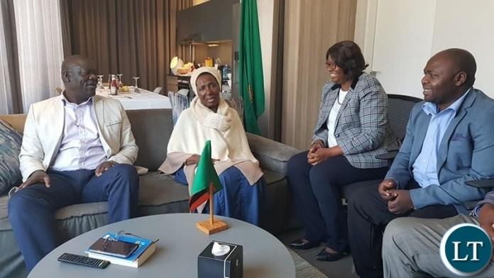 Davies Mwila visiting Vice President Inonge Wina in South Africa