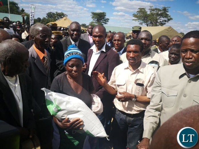 President Lungu flagging off the food relief distribution in Southern Province