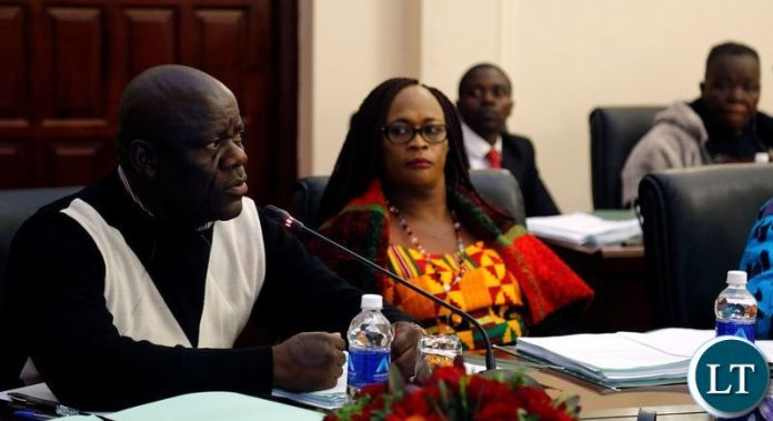 Patriotic Front (PF) Secretary General Davies Mwila (left) and his Deputy Mumbi Phiri during the Central Committee Meeting in Lusaka on Sunday,May 26,2019. PICTURE BY SALIM HENRY/STATE HOUSE ©2019