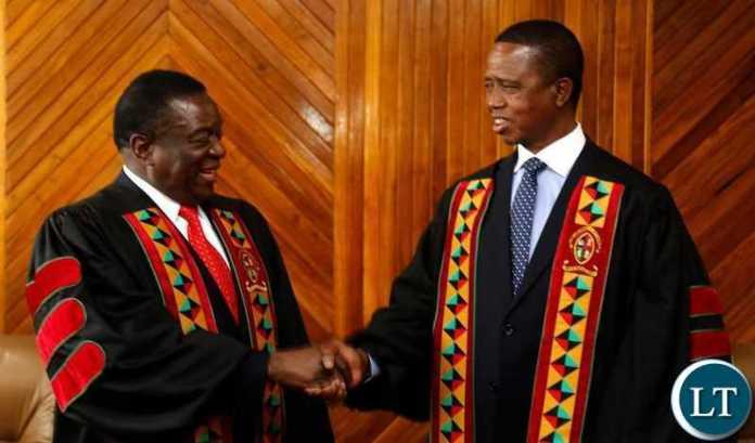 President Edgar Chagwa Lungu with his Zimbabwean counterpart President Emmerson Dambudzo Mnangagwa