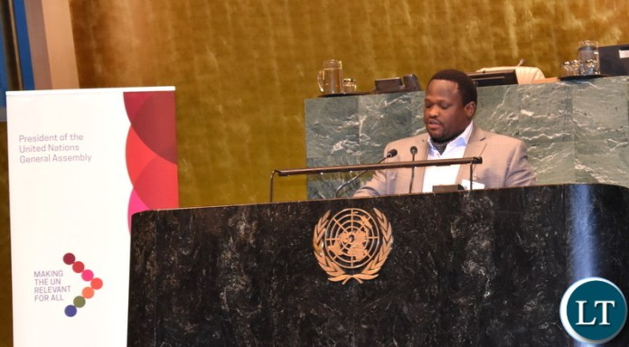 Minister of National Development Planning Alexander Chiteme addressing the United Nations General Assembly High-Level meeting on the commemoration of the 25th Anniversary of the International Conference on Population and Development (ICPD@25) in New York USA on Tuesday 16 July, 2019. Mr. Chiteme and Muchinga Province Minister Malozo Sichone are participating in the 2019 High Level Political Forum on Sustainable Development Ministerial meeting at the United Nations Headquarters in New York. PHOTO | CHIBAULA D. SILWAMBA | MNDP