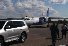 KCM Provisional Liquidator Milingo Lungu arriving in Chingola recently on a ZAF plane.