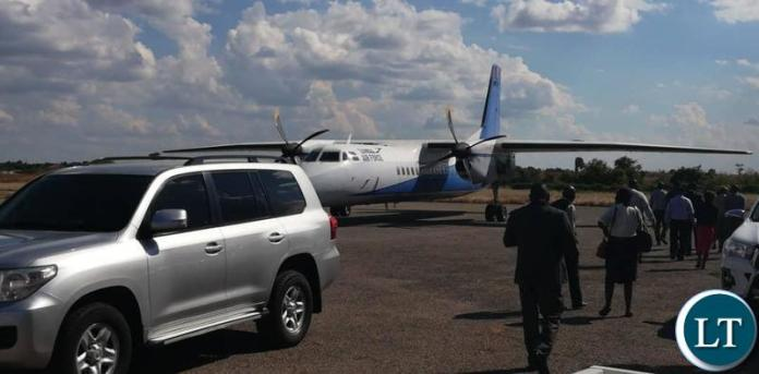 KCM Provisional Liquidator Milingo Lungu arriving in Chingola recently on a ZAF plane.