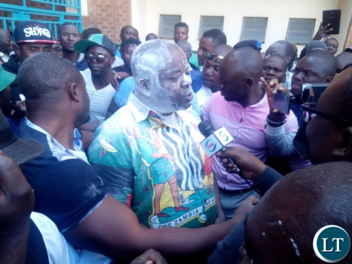 Mr Chitotela speaking to Journalists outside the Lusaka Magistrate Court following his acquittal
