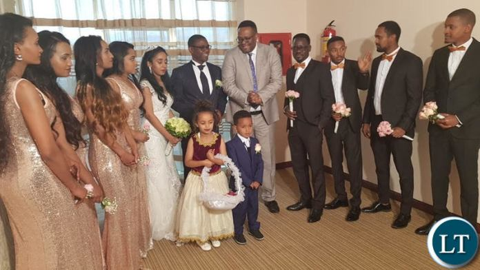 Economic and Equity Party(EEP) leader Chilufya Tayali with his new Wife  at a wedding ceremony joined by Zambia's Ambassador to Ethiopia Emmanuel Mwamba