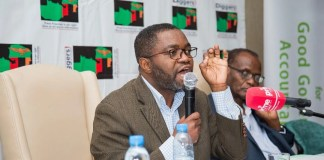 Constitutional Lawyer John Sangwa stresses a point at a recent public discussion on the Constitutional Amendment Bill