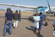 The plane evacuating Mr Felix Mutati to UTH from Solwezi
