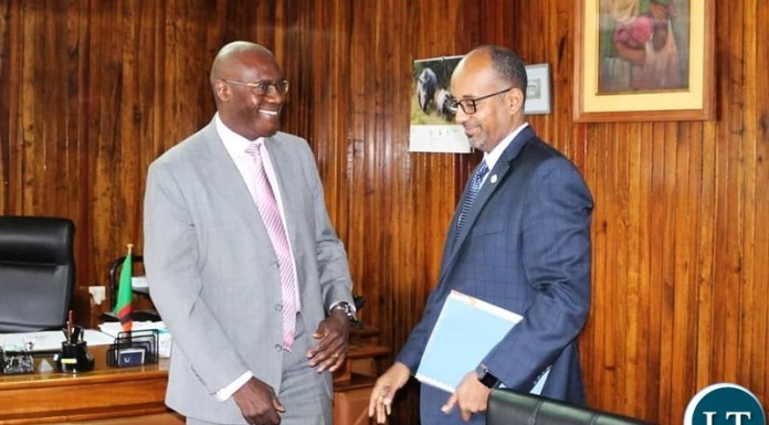 Finance Minister Dr. BWALYA NG'ANDU with Trade and Development Bank President ADMASSU TADESSE