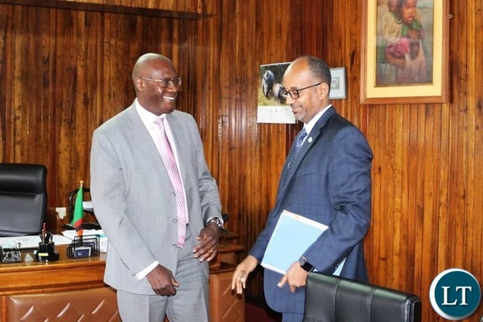 Finance Minister Dr. BWALYA NG'ANDU  with Trade and Development Bank President ADMASSU TADESSE