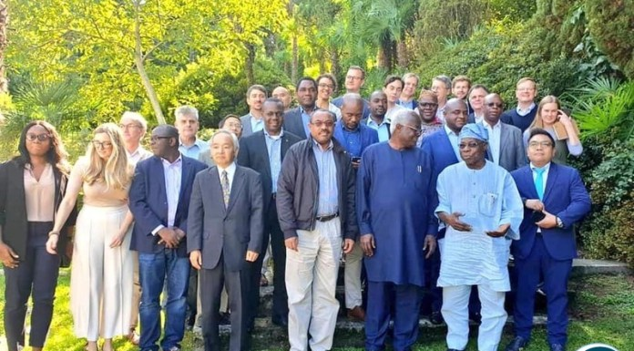 "President Hakainde Hichilema in a group photo with other eminent and distinguished personalities attending a meeting organised by the Brenhurst Foundation at Lake Como, Italy to discuss Africa's economic trajectory under a theme, ""Can Africa be the Next Asia?"""