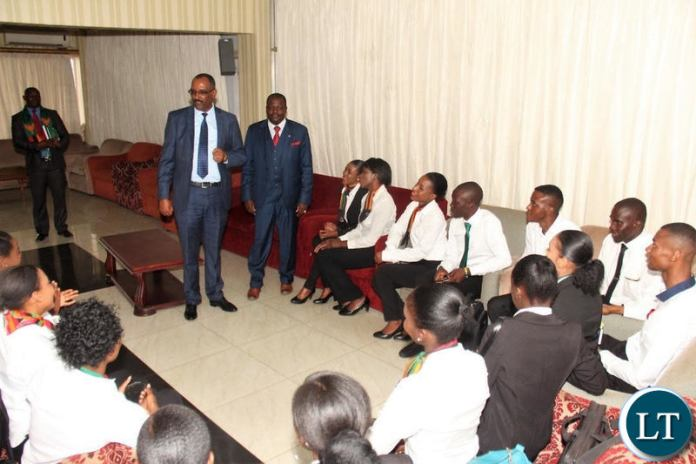 Zambia Airways Chief Executive Officer Mr Bruk Endeshaw speaking to trainees