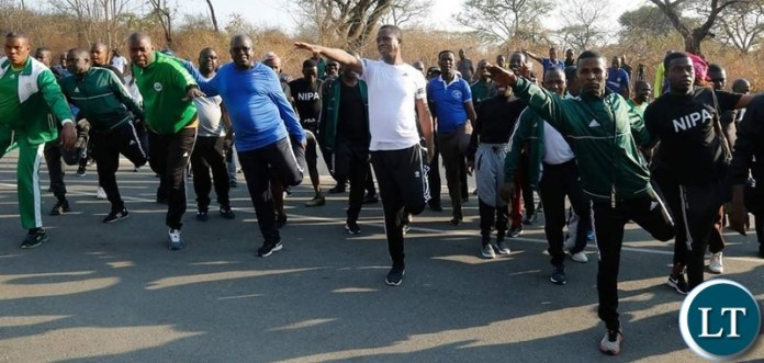 President Edgar Chagwa Lungu (in white) being joined by Ministers, National Institute of Public Administration (NIPA) students and Church of God Members during the Presidential Keep Fit Exercise at State Lodge in Lusaka on Saturday, September 7,2019. PICTURE BY SALIM HENRY/STATE HOUSE ©2019