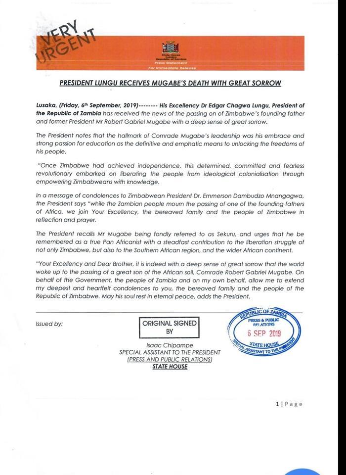 Zambia President Lungu Mourns Zimbabwean President Robert