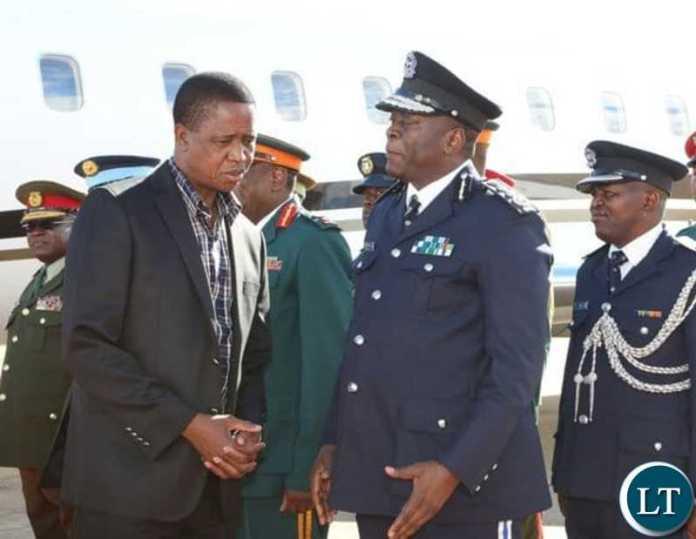 President Lungu with Zambia Police Chief Kakoma Kanganja