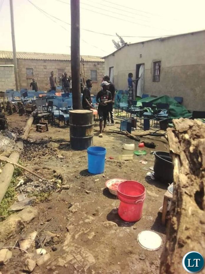 The funeral house which was ransacked in Friday by PF cadres in Kanyama1