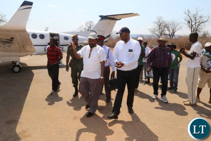 Lusaka Province Minister Bowman Lusambo arriving at the Royal Airstrip in the Lower Zambezi