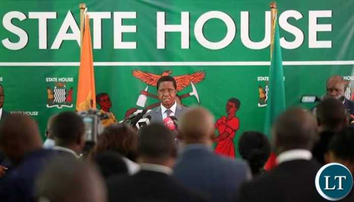 President Lungu addressing the media