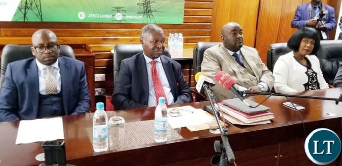 ZESCO Board at a Press Briefing led bt Board Chairman Mbita Chitala