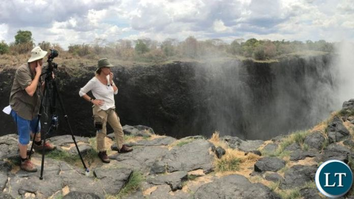 Alex Crawford of Sky News reporting from Victoria Falls, Livingstone