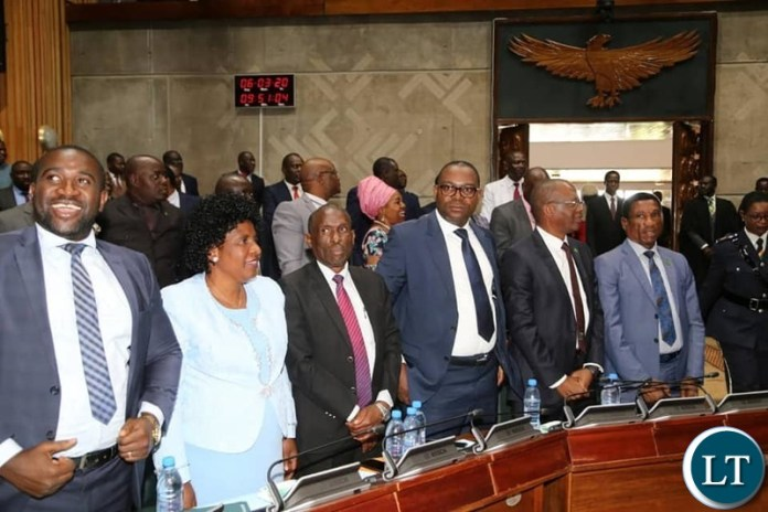 PF front bench during the President's address in parliament