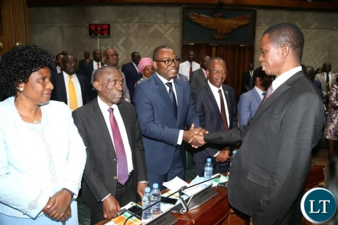 President Lungu Greeting Transport and Communication Minister