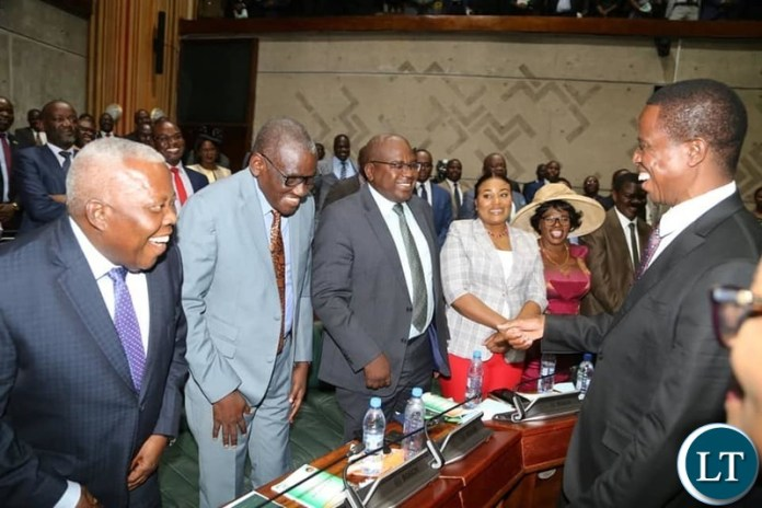 President Lungu greeting PF MPs